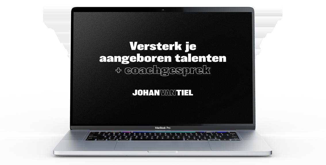 """""""Versterk je aangeboren talenten + coachgesprek - Johan van Tiel"""" op laptop scherm."""